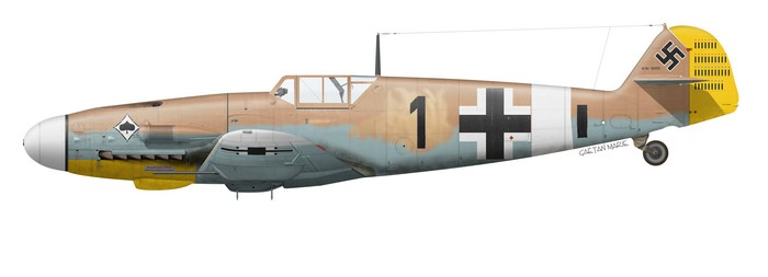 Germany, Bf 109G-4, Oblt. Franz Schiess, 8.~JG 53, Tunisia, February 1943