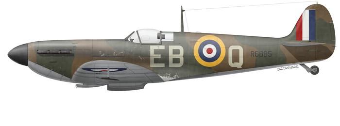 UK, Spitfire Mk Ia, R6885, P-O Erick Lock, No 41 Squadron