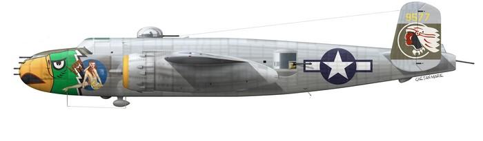 US, B-25J-22, 44-29577, Lady Lil, Lt Albert Beiga, 498 BS, 345 BG