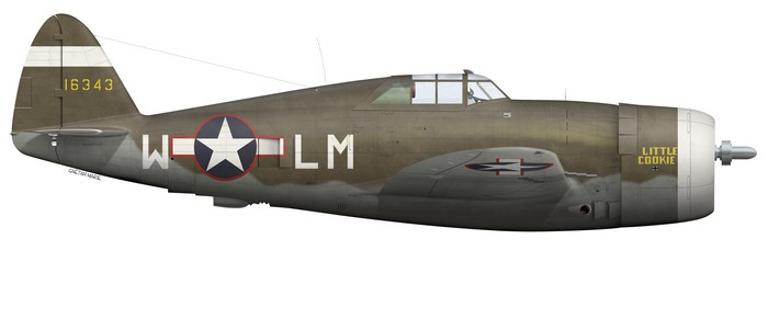 US, P-47C-5-RE, 41-6343, Little Cookie, Capt Walter Cook, 62 FS, 56 FG