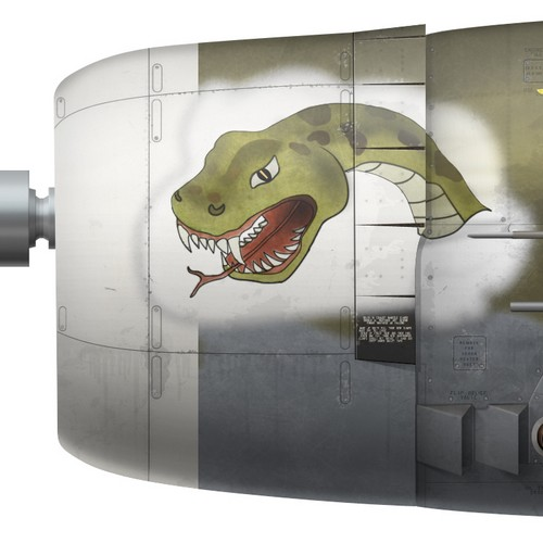 US, P-47D-16-RE, 42-76076, Touch of Texas,  Capt. Charles Mohrle, 510 FS, 405 FG - nose art