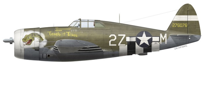US, P-47D-16-RE, 42-76076, Touch of Texas,  Capt. Charles Mohrle, 510 FS, 405 FG