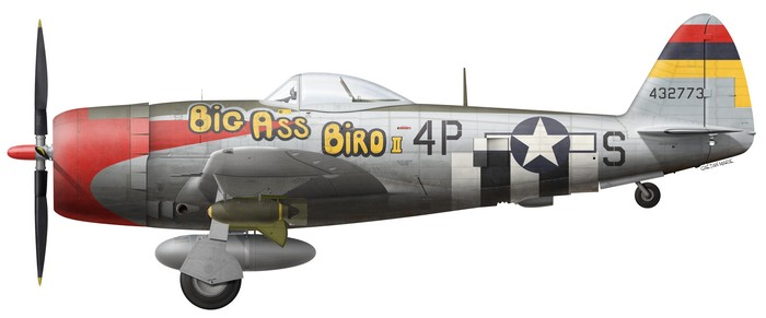US, P-47D-30-RA, 44-32773, Big Ass Bird II, Maj. Howard Park, 513 FS, 406 FG, 1945