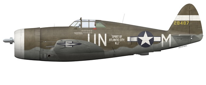 US, P-47D-5-RE, 42-8487, Spirit of Atlantic City NJ, Capt. Walker Mahurin, 63rd FS, 56th FG