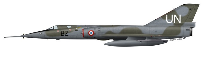 Mirage IVP n°53 of ERS 1/91 Gascogne received UN markings for recce flights over Irak during Operation TARPAN in 2003. It is carrying a Barax ECM pod on the outer wing pylon.