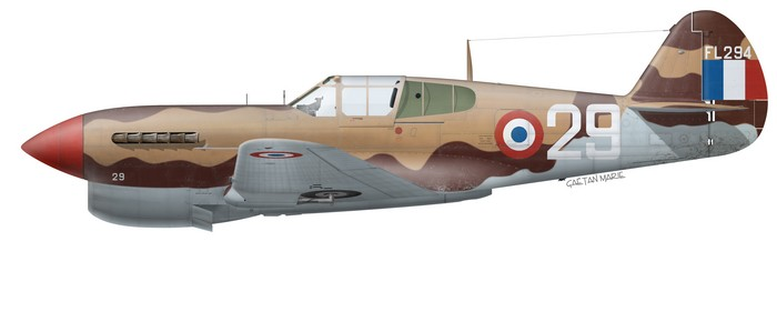 This Curtiss P-40F Warhawk (s/n 41-13901) was an ex-RAF Kittyhawk Mk II (serial FL294), operated by the Centre d'Instructions à la Chasse based in Meknès, French Morocco.