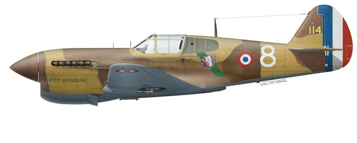 This Curtiss P-40F Warhawk was one of the aircraft transferred from US forces to the Free French GC II/5 Lafayette in 1943. American markings could still be seen beneath the new colours.