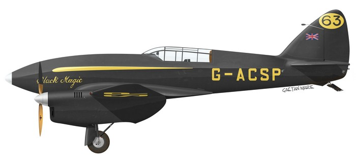 "Jim and Amy Mollison's DH.88 Comet G-ACSP ""Black Magic""."