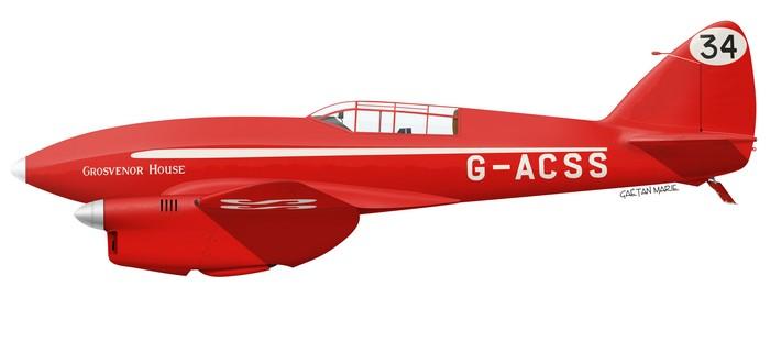 UK, DH.88 Comet G-ACSS, Grosvenor House, Charles Scott & Tom Campbell Black, Race 34, 1934 MacRobertson race