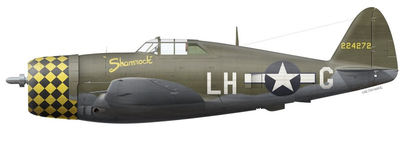 "P-47D-2-RA ""Shamrock"" (s/n 42-24272) flown by Lt John A. Sullivan of the 350th Fighter Squadron, 353rd Fighter Group, USAAF."