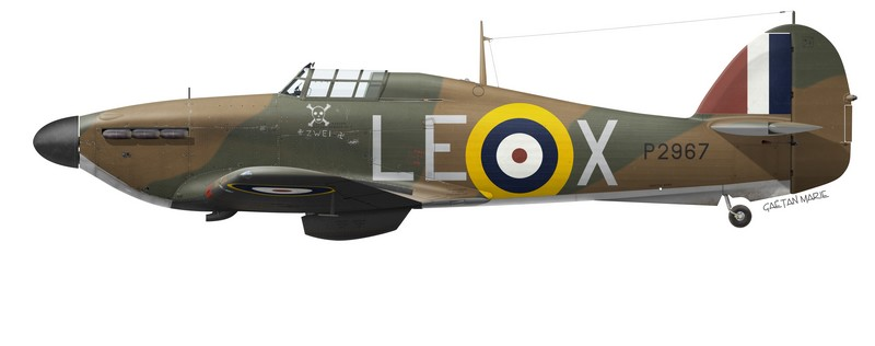Hawker Hurricane Mk I P2087, No 242 (Canadian) Squadron, Châteaudun, France, June 1940.