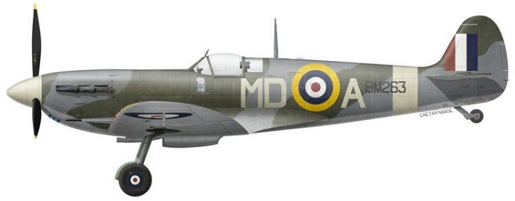 Spitfire Mk Vb BM263, piloté par le S/L Eric H. Thomas, No 133 (Eagle) Squadron, printemps 1942