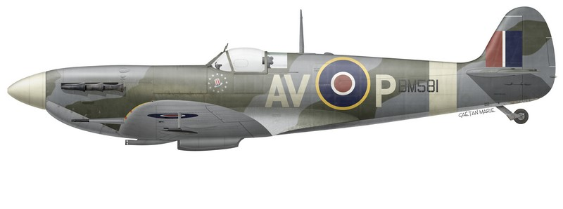 Spitfire Mk Vb BM581 flown by P/O Bill Kelly, No 121 (Eagle) Squadron, July 1942