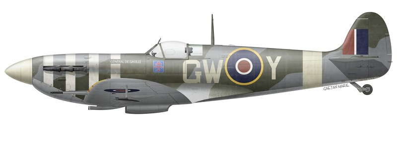 """The """"Général de Gaulle"""" Spitfire, flown by Cne Emile Fayolle."""
