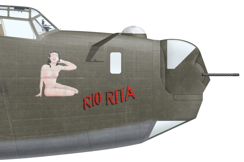 "Nose art of B-24D-20-CO ""Rio Rita"" (s/n 41-24127), A72-10, of No 7 OTU, spring 1944."