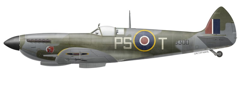 RCAF, Spitfire Mk XVIe TB300 flown by G/C Percival S. Turner, No 127 Wing, 1945