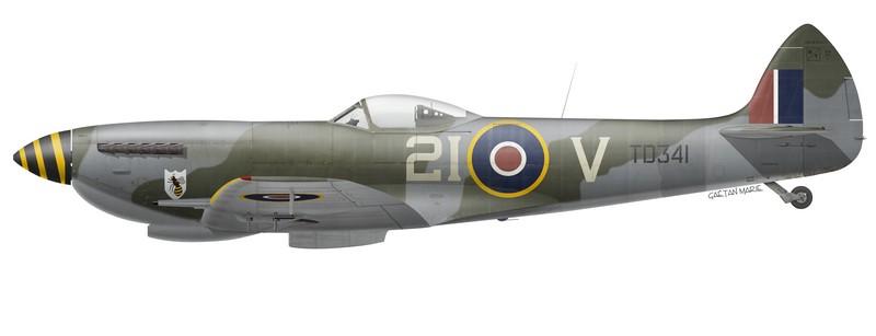 RCAF, Spitfire Mk XVIe TD341 du No 443 Squadron, Utersen, Allemagne, août 1945