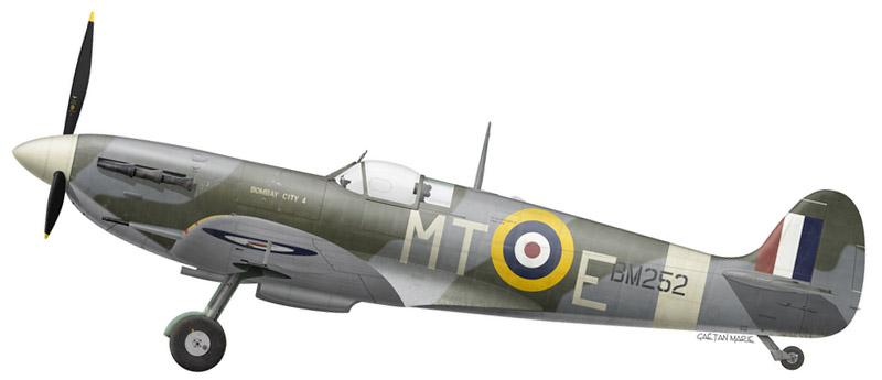 "Spitfire Mk Vb BM252 ""Bombay City 4"" of No (Bombay) 122 Squadron, RAF Hornchurch, May 1942."
