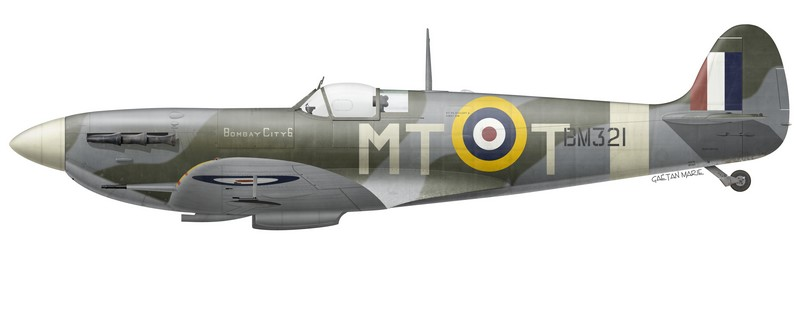 "Spitfire Mk Vb BM321 ""Bombay City 6"" of No 122 (Bombay) Squadron, flown by Flight Lieutenant M. G. de Hemptine (Belgium), RAF Hornchurch, April 1942."