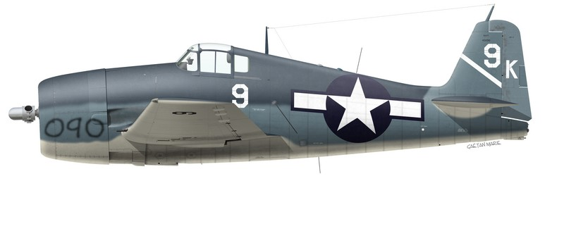 USN, F6F-3 BuNo 40090, Lt. William C Moseley, VF-1, USS Yorktown, June 1944