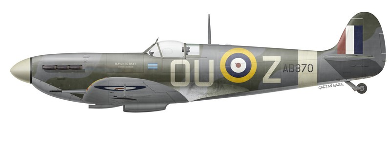 Spitfire Mk Vb, AB870, flown by S/L Marcus W. B. Knight of No 485 (NZ) Squadron, August-September 1941.
