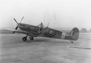 Spitfire LF IX MJ502 'Prince Tungi Tonga II' at No 33 MU, Lyneham, Wiltshire, shortly before delivery to 485 Sqdn RAF at Drem, Scotland.